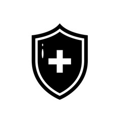 Black icon of medical shield in flat style vector