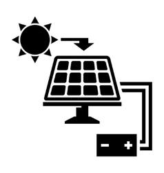 Black solar panel icon vector