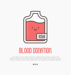 Blood donation concept thin line blood bag icon vector