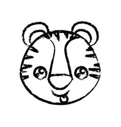 Blurred tick contour of kawaii caricature face vector