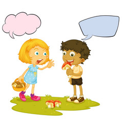 boy eating mushroom speech balloon vector image