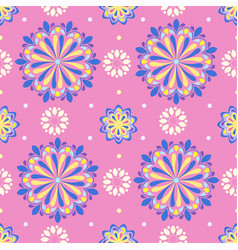bright mandala pattern in pink-white vector image