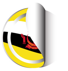 brunei flag on round sticker vector image