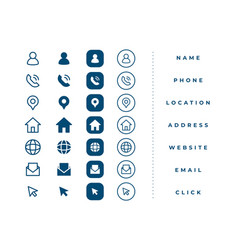 Business card icons set for contact information vector