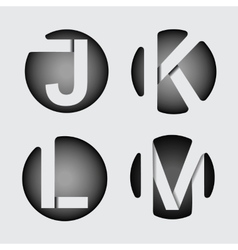 Capital letter J K L M of wide white stripes vector