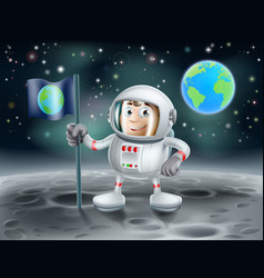 Cartoon astronaut on the moon vector