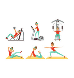 Cheerful young woman doing different sport vector
