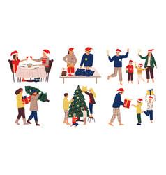 christmas celebration scenes cute people vector image