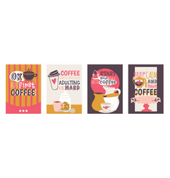 coffee addiction set of cards ok but first vector image