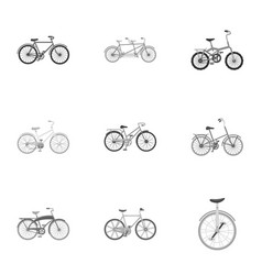 Collection of bikes with different wheels and vector