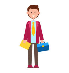 color with happy man in suit vector image