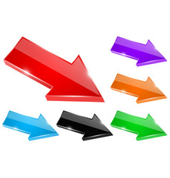 colored shiny arrows 3d icons vector image