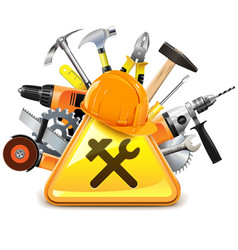 Construction Tools with Sign vector