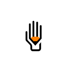 creative hand pen symbol logo vector image