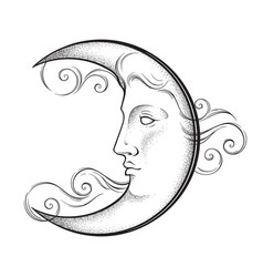 crescent moon with face in antique style vector image