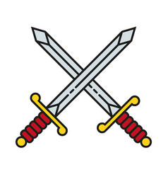 crossed sword icon symbol vector image