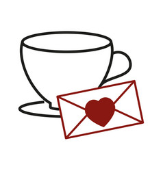 cup with love enpelope icon vector image