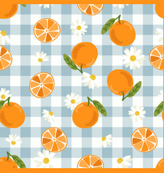 cute hand drawn orange fruit and slice on blue vector image