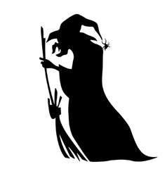 Cute Witch Riding A Broom vector image