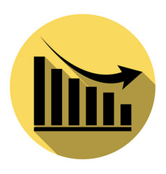 declining graph sign flat black icon with vector image