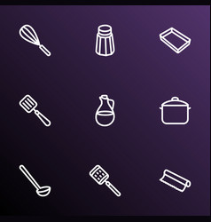 dishware icons line style set with ladle salt vector image