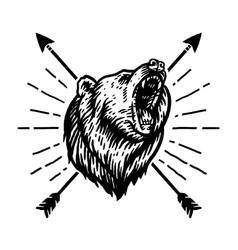 Drawing roaring bear and arrow vector