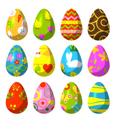 Easter eggs painted with pattern vector
