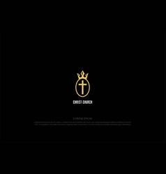 elegant luxury golden king crown with jesus vector image
