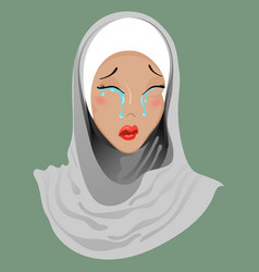 Emoticon muslim girl cry vector