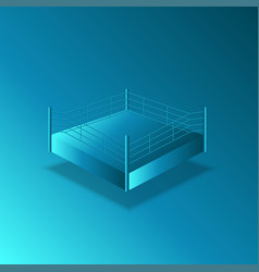 empty boxing ring 3d isometric model blue vector image