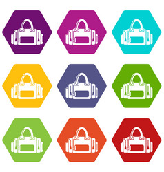 fitness bag icons set 9 vector image