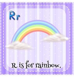 Flashcard r is for rainbow vector