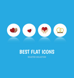 flat icon heart set of save love shaped box vector image