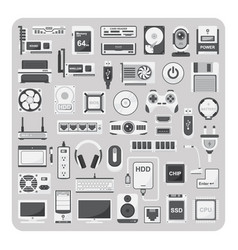 Flat icons computer set vector