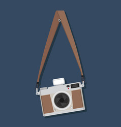Flat style vintage camera hanging vector