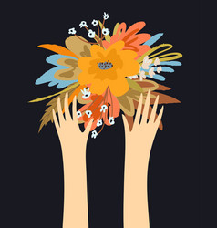 flowers and hands with fingers design hands vector image
