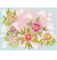 flowers postcard vector image