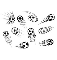 Football and soccer sport flying ball icons vector