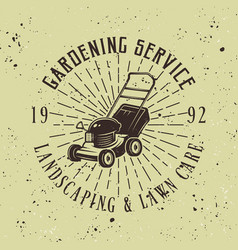 Gardening service emblem with lawn mower vector