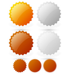 Glossy badge starburst shapes gold silver bronze vector