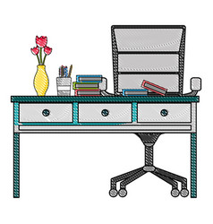 grated office wood desk with books and chairs vector image