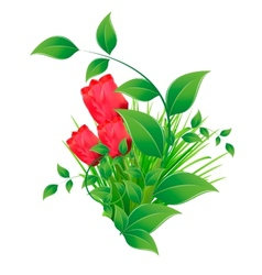 Green tuft of grass with leaves and tulips vector