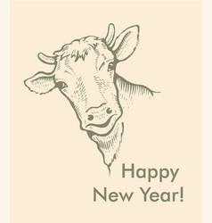 greeting card of bull simple text vector image