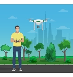 Guy controling aerial quadrocopter drone in the vector image