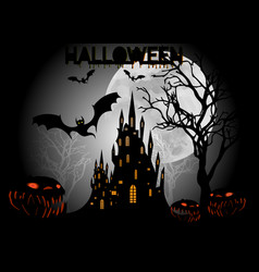 halloween party bats with gothic haunted castle vector image