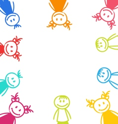 Hand-drawn Cute Funny Kids Colorful Girls and Boys vector