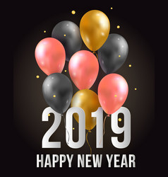 Happy new year 2019 with flying 3d party air vector