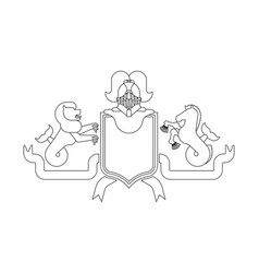 Heraldic shield sea lion and hippocampus and vector