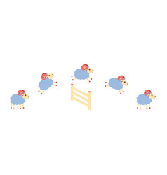 Herd of lamb or sheep jumping over the fence vector