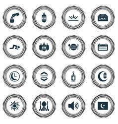 holiday icons set with ramadan mosque lantern vector image